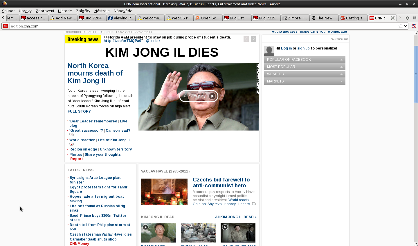 CNN front page informing about the death of Mr. Havel