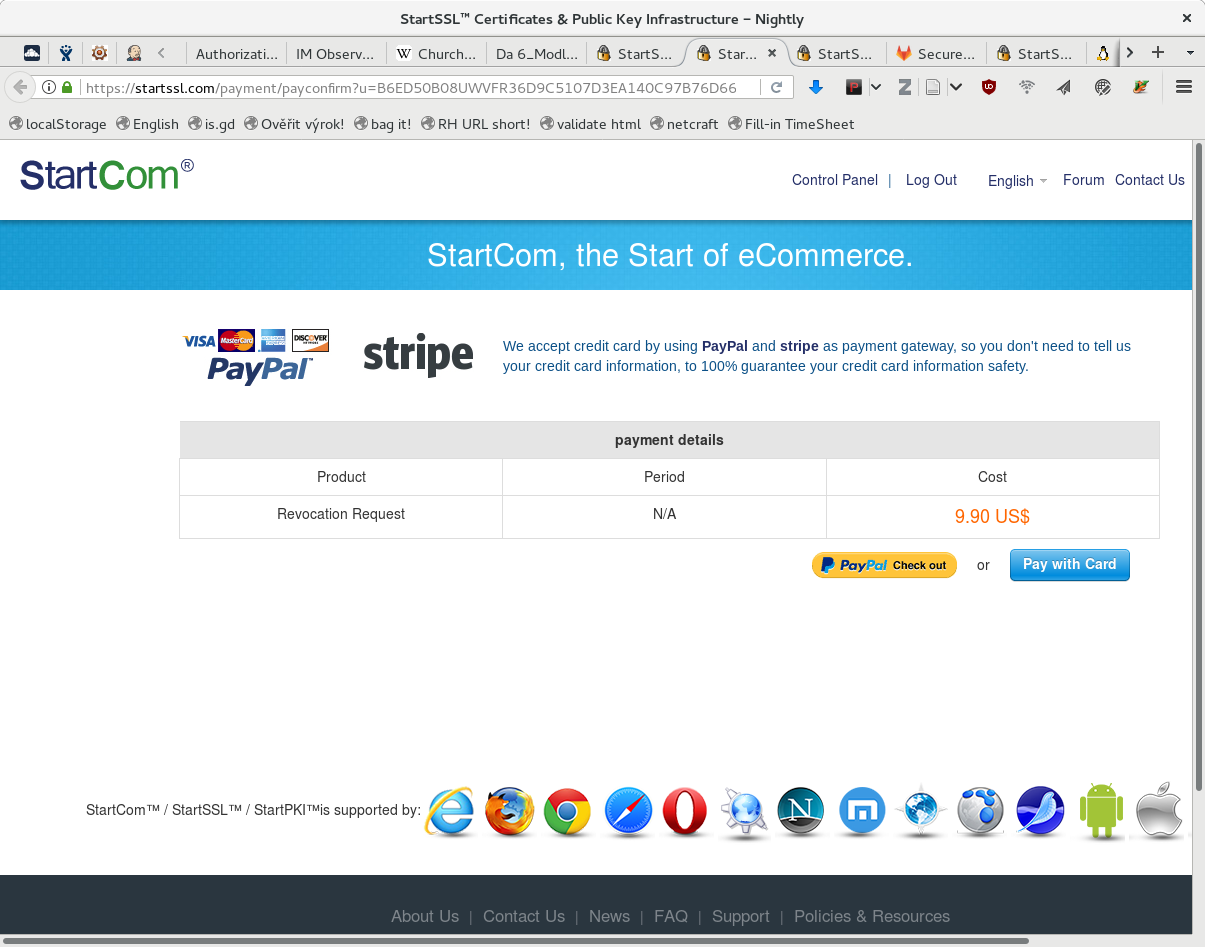StartSSL requires payment when you try to leave