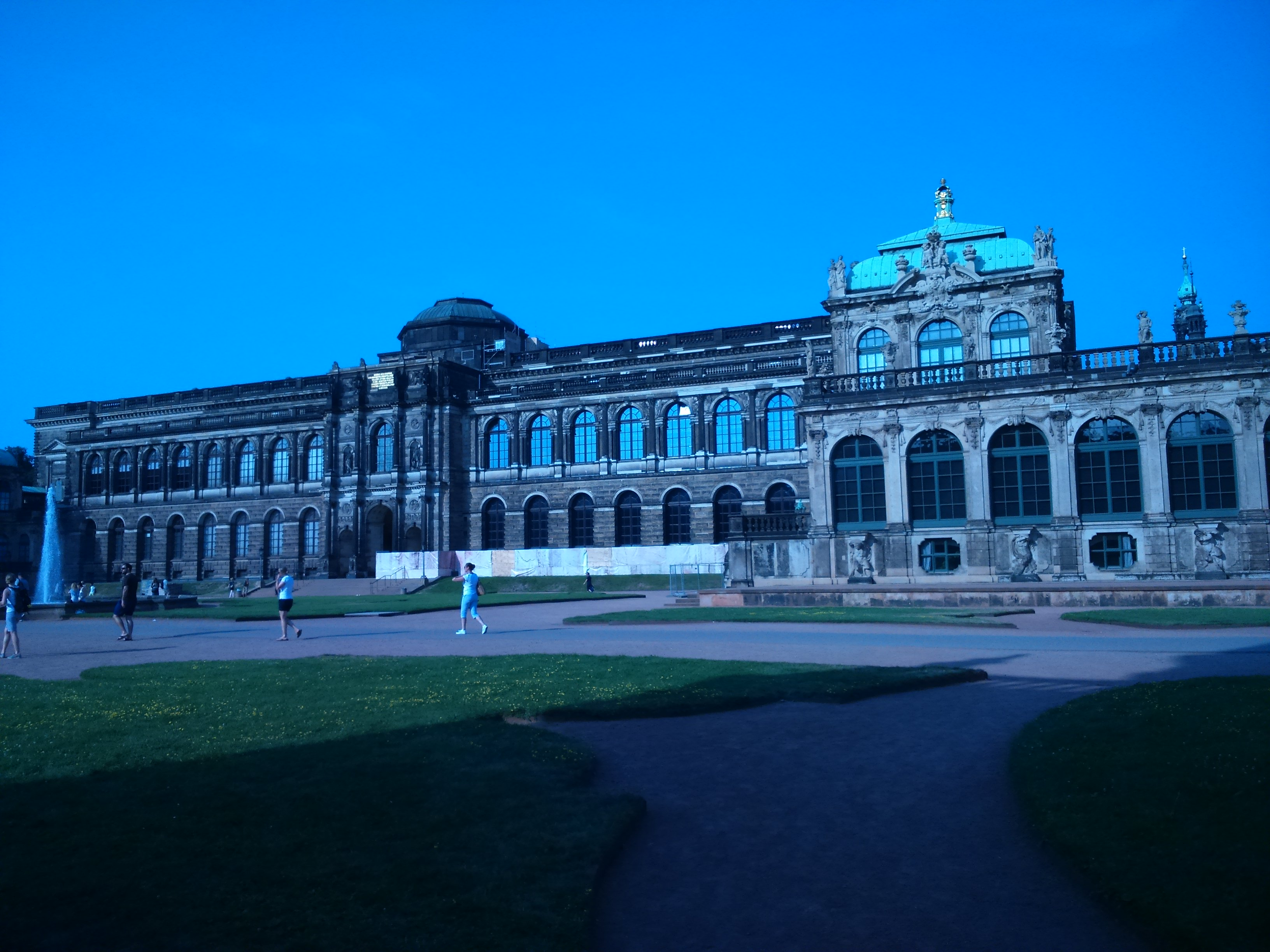 Completely blue photo of the Dresden Zwinger